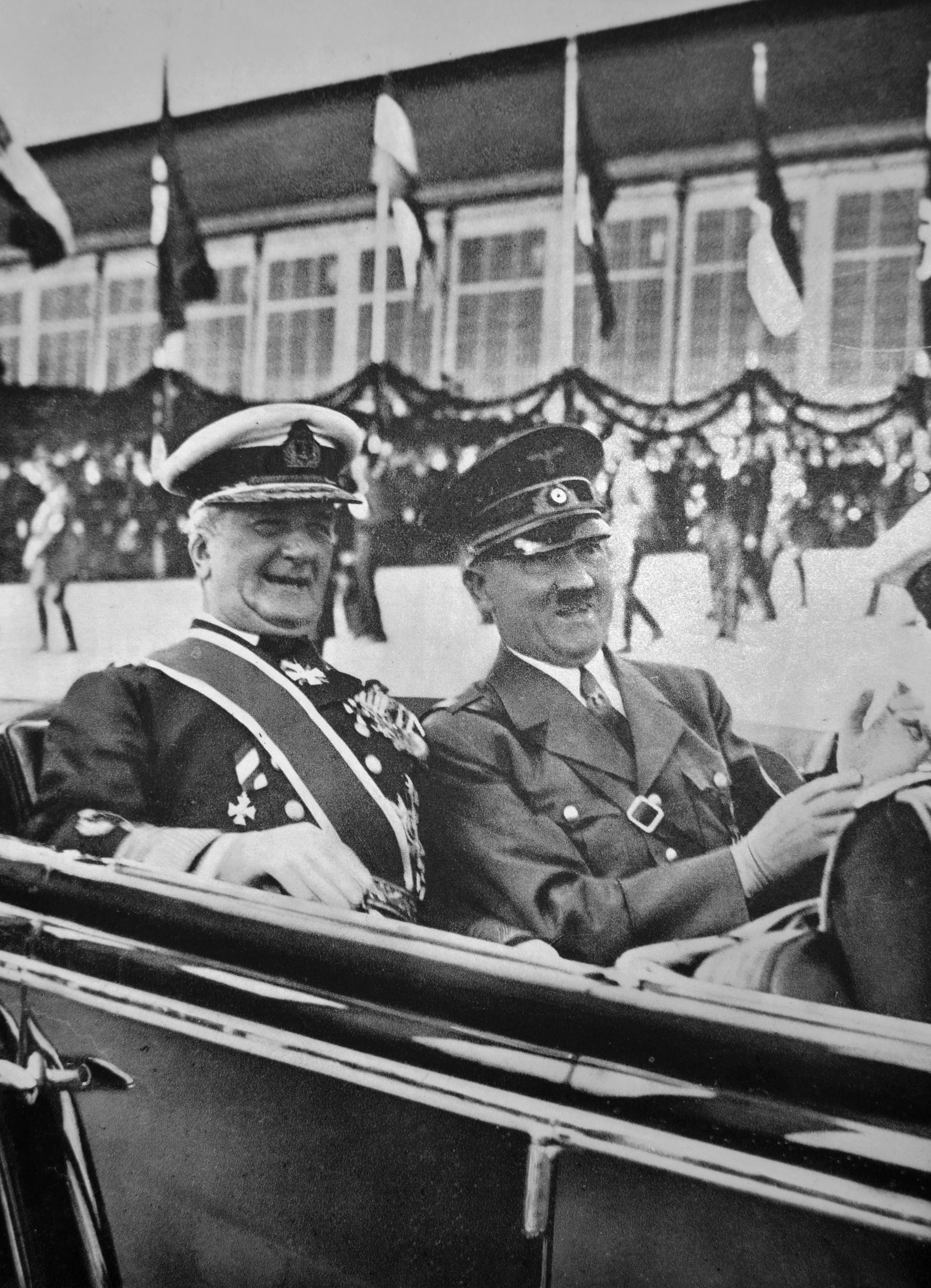 Adolf Hitler and Miklos Horthy on their way to Hamburg's town hall