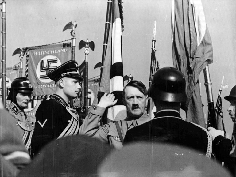Adolf Hitler concecrating the flags at the 1938 Reichsparteitag