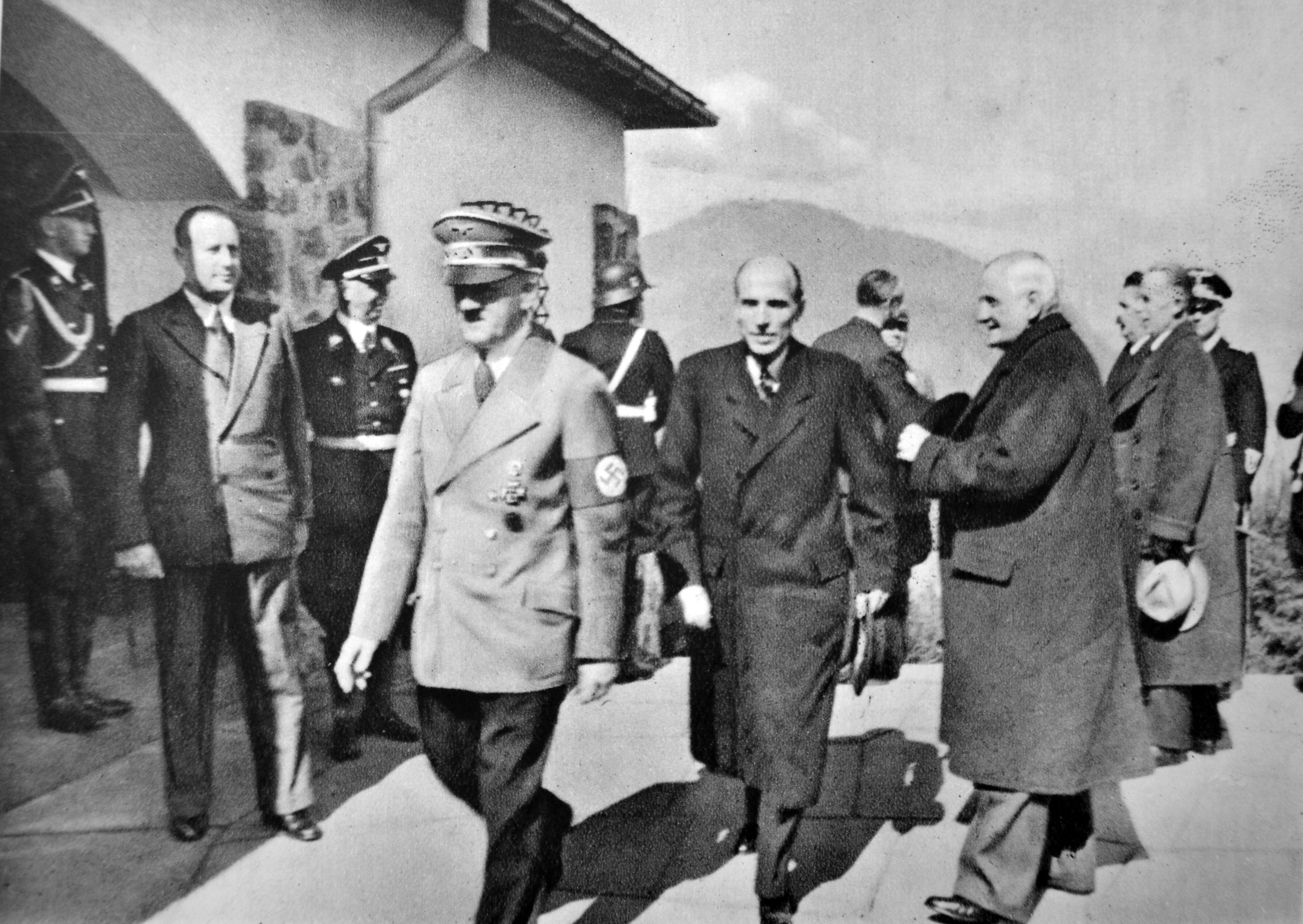 Adolf Hitler welcomes Prime Minister of Hungary Bela Imredy and Foreign Minister Kalman de Kanya at the Berghof