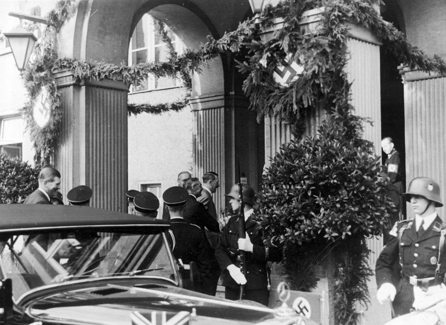 Adolf Hitler and Neville Chamberlain meet at the Hotel Rheinhotel Dreesen in Bad Godesberg