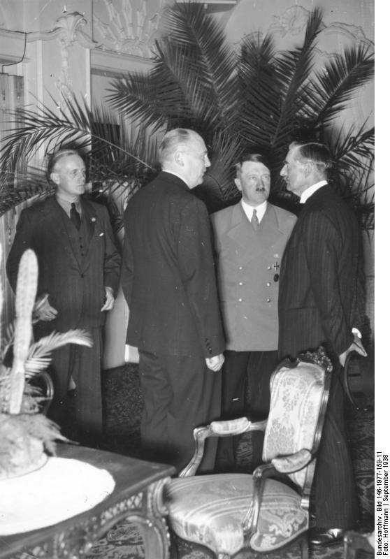 Joachim von Ribbentrop, Adolf  Hitler, and Neville Chamberlain during the diplomatic meeting in Bad Godesberg