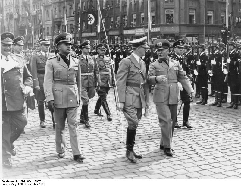 Adolf Hitler and Benito Mussolini in Munich for the Munich Conference