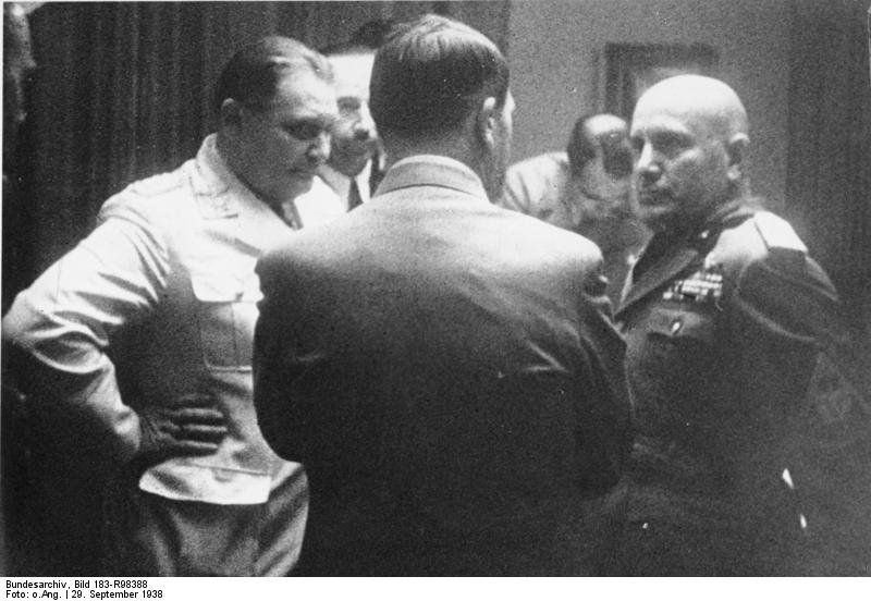 Conversation between Adolf Hitler and Benito Mussolini during the negotiations of the Munich conference
