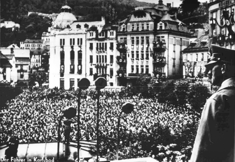 Adolf Hitler gives a speech in Karlsbad's Theaterplatz