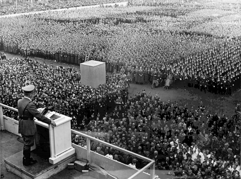Adolf Hitler makes a speech in front of 100.000 persons at the Gauparteitag in Weimar