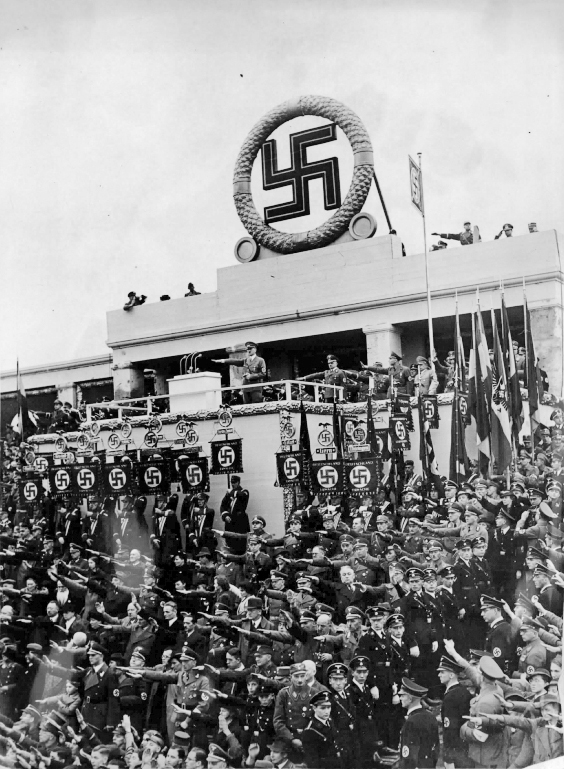 Adolf Hitler makes a speech at the Gauparteitag in Weimar