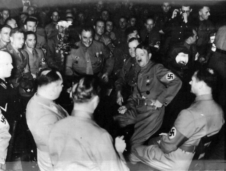 Hitler at Munich's Burgerbräukeller for the anniversary of the Putsch