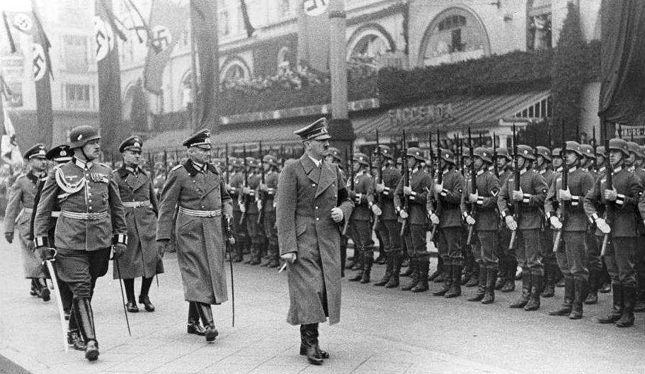 Adolf Hitler on Wilhelmplatz, the former forecourt of Düsseldorf main station, at his arrival for the funeral of Ernst vom Rath