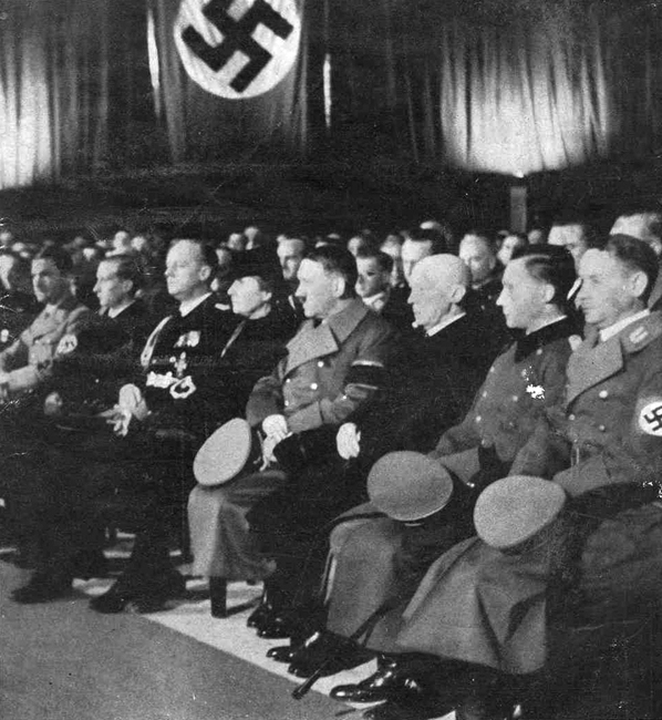 Adolf Hitler at the funeral of the German diplomat Ernst vom Rath, who was assassinated in Paris by Herschel Grynszpan, a jewish teenager. The event led to the Kristallnacht (Night of Broken Glass) in all Germany