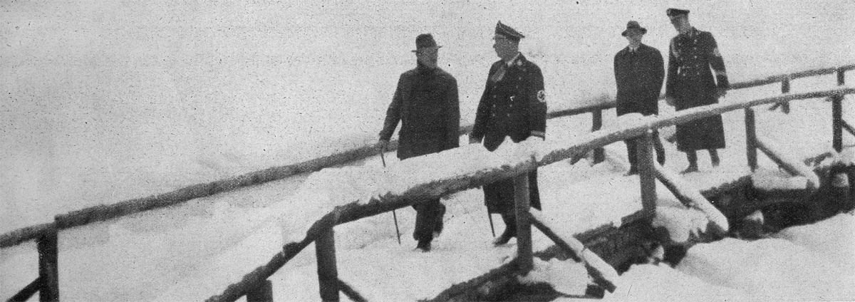 Adolf Hitler speaks with Heinrich Himmler during a walk on the Obersalzberg on the occasion of his 10 year jubilee as Reichsführer SS