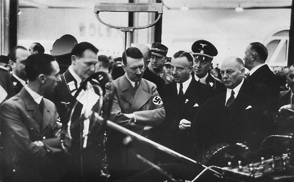 Adolf Hitler with Mercedes director Wilhelm Kissel at the Berlin automobile show