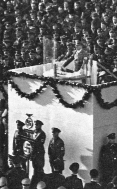 Adolf Hitler makes a speech at the Rathausplatz in Wilhelmshaven for the launching of the battleship Tirpitz