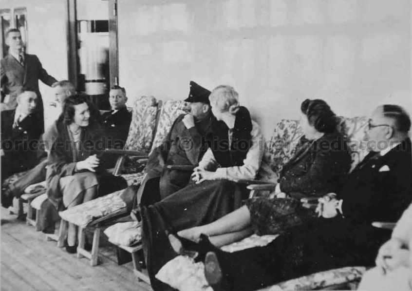 Inge Ley with Adolf Hitler on the Robert Ley cruise ship