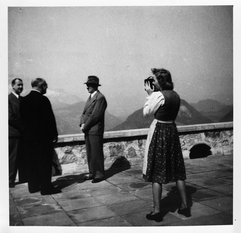 Eva Braun filming Adolf Hitler in conversation with Hermann Esser and Theodor Morell on the terrace of the Berghof, from Eva Braun's albums