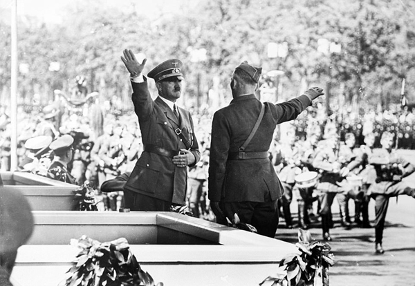 Adolf Hitler salutes Field Marshal Wolfram von Richthofen during the parade of honor after the return of Legion Condor from Spain