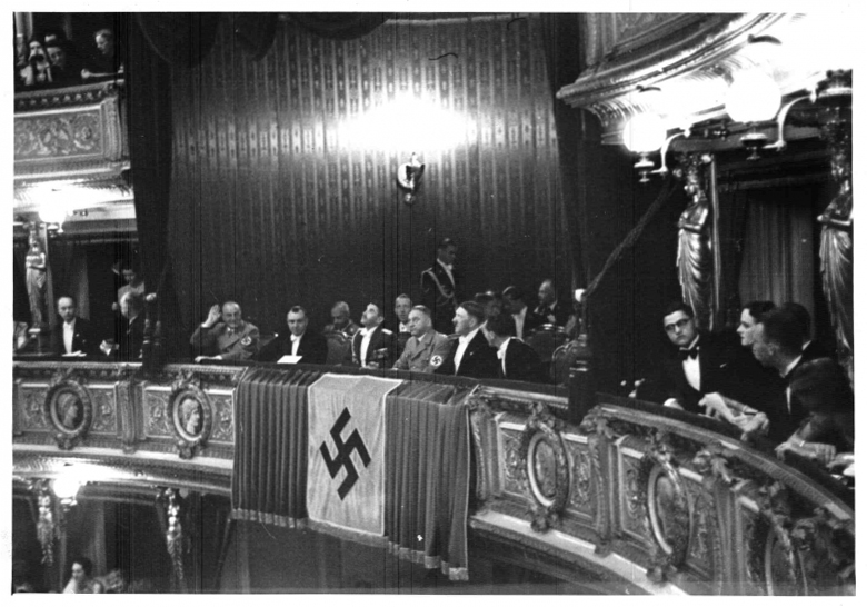 Hitler at a performance of Richard Strauss' latest work Ein Friedenstag, which premiered at the 6th Reichstheaterfestwoche in Vienna