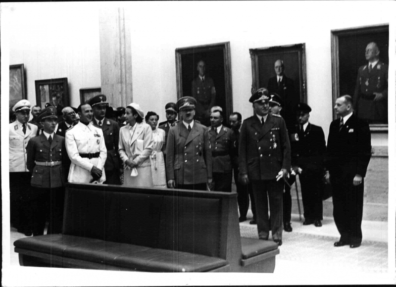Adolf Hitler visits the Great German Art Exhibition, accompanied by Italian guests of honor and foreign ambassadors