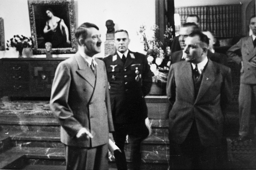 Adolf Hitler in the  Berghof great hall waiting for the results of Ribbentrop's negociations about the german soviet pact in Moscow, from Eva Braun's album