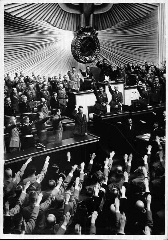 Adolf Hitler delivering a speech to vindicate the invasion of Poland