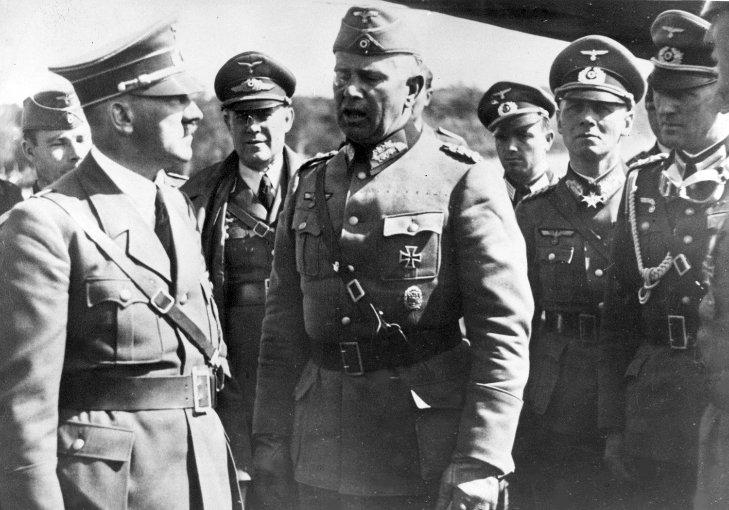 Adolf Hitler at the Tomaszow airport is welcomed by Walter von Reichenau and Erwin Rommel during the Poland campaign