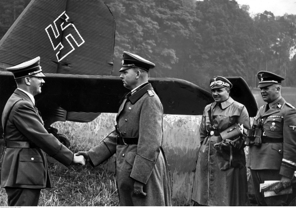 Adolf Hitler salutes general Wilhelm List at his arrival in Pawłosiów (Poland) before his visit to the 14th army