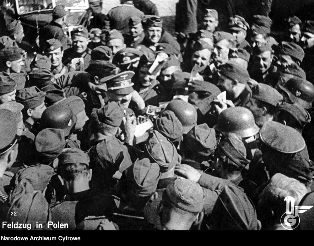 Adolf Hitler visits his soldiers in Jaroslaw, Poland