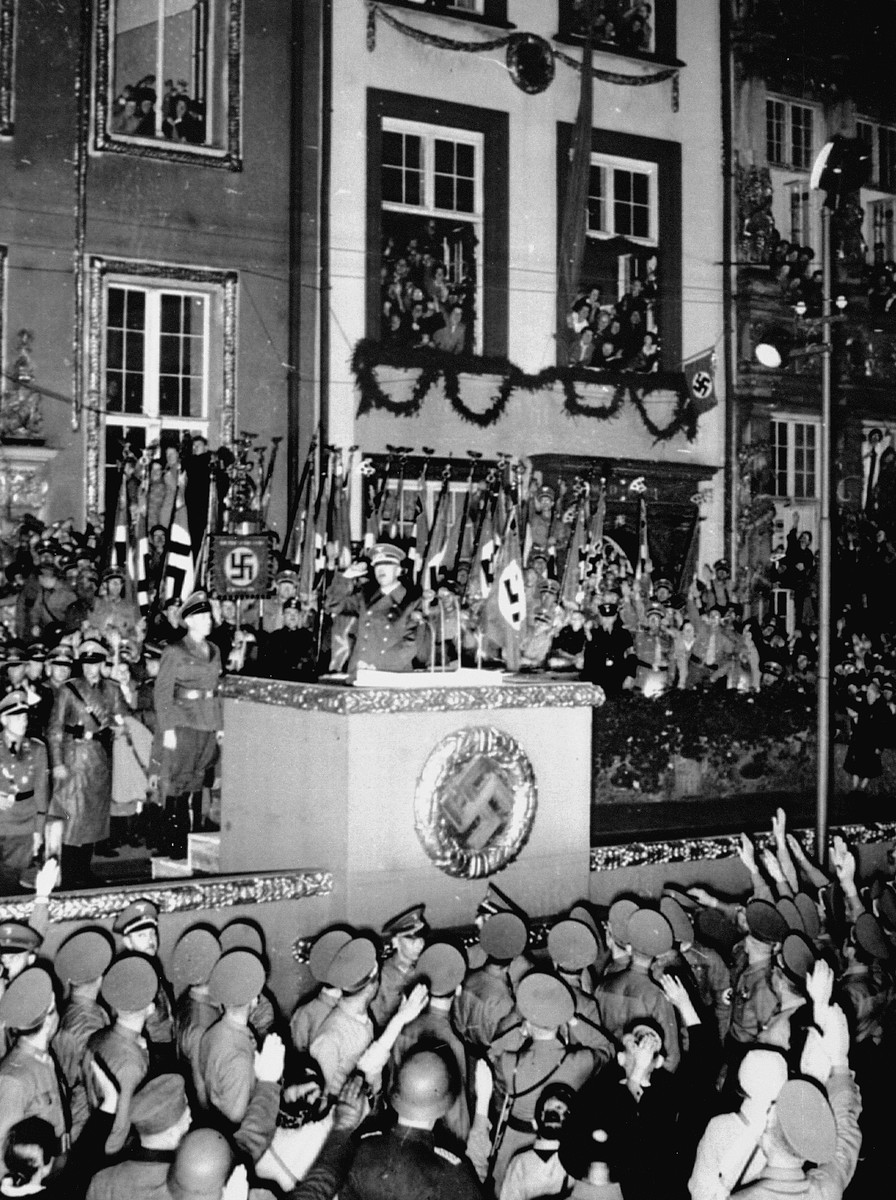 Adolf Hitler arrives at the podium to address the people of Danzig