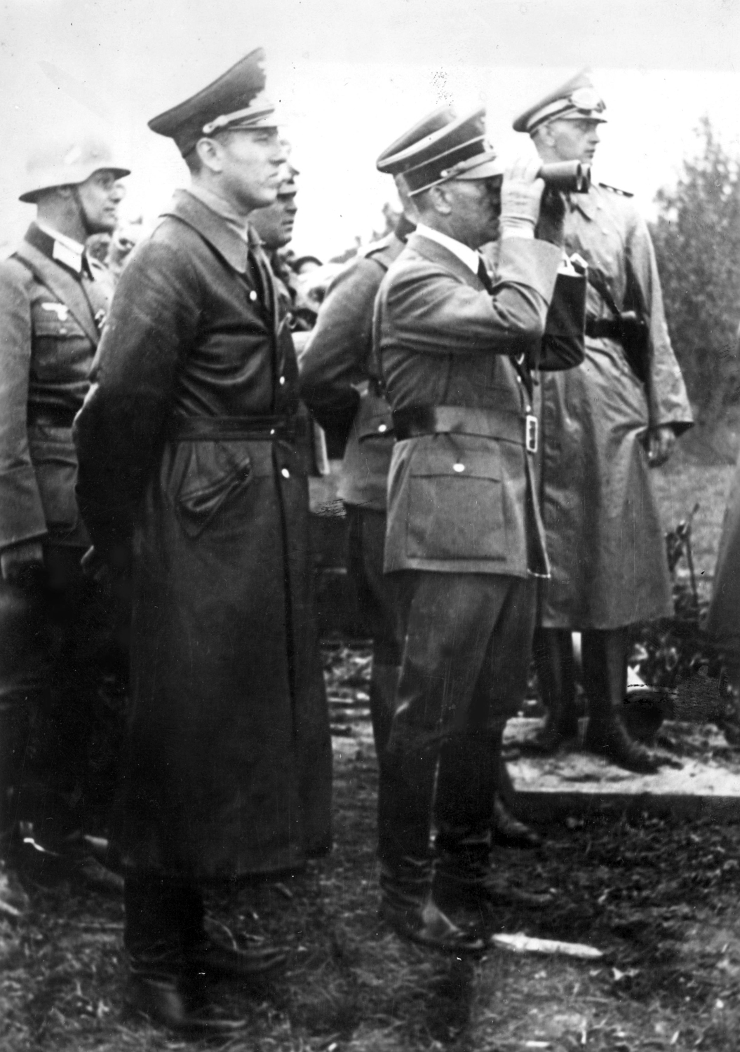 Adolf Hitler observes the town of Gdańsk, with Albert Forster beside him