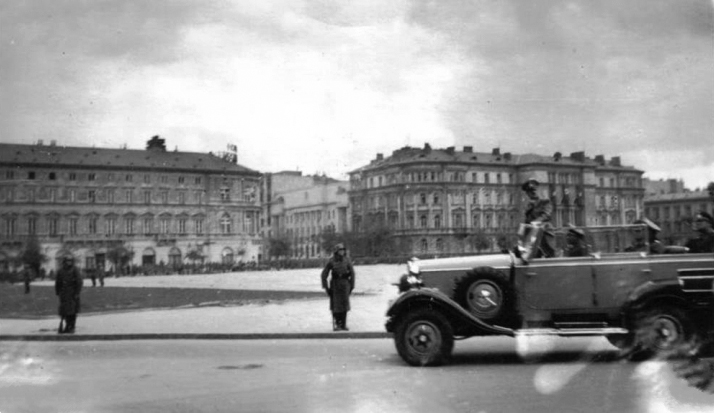 Adolf Hitler crosses Warsaw after the Polish capitulation
