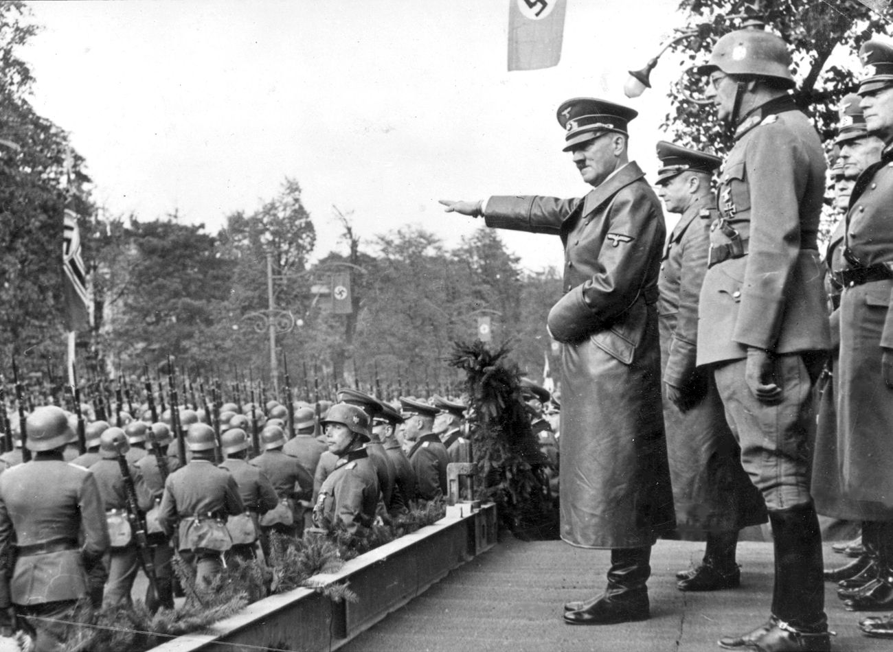 Adolf Hitler salutes the Wehrmacht parade in Warsaw