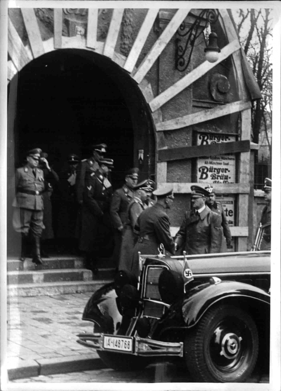 Adolf Hitler visits the damaged Bürgerbräukeller after the assassination attempt against him by Georg Elser