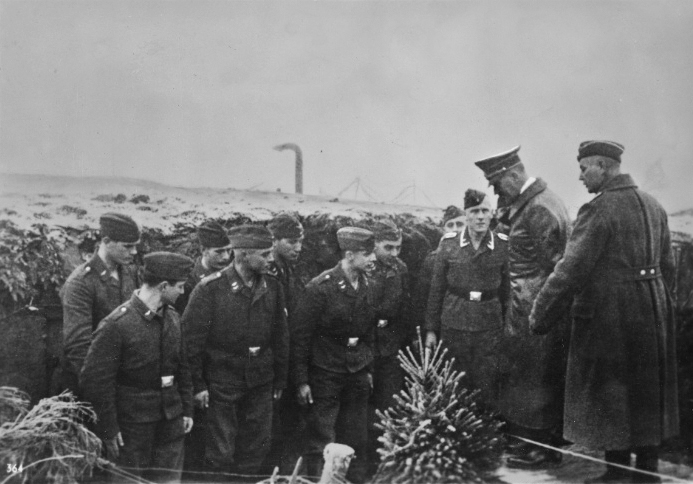 Adolf Hitler visits Luftwaffe soldiers during Christmas 1939