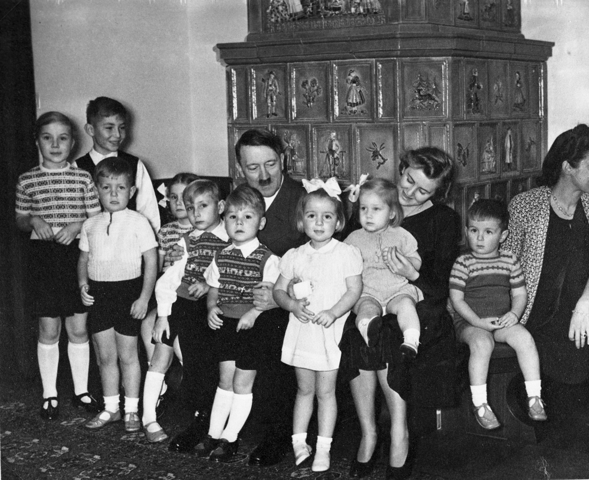 Adolf Hitler and Eva Braun with the Speer and Bormann children, from Eva Braun's albums