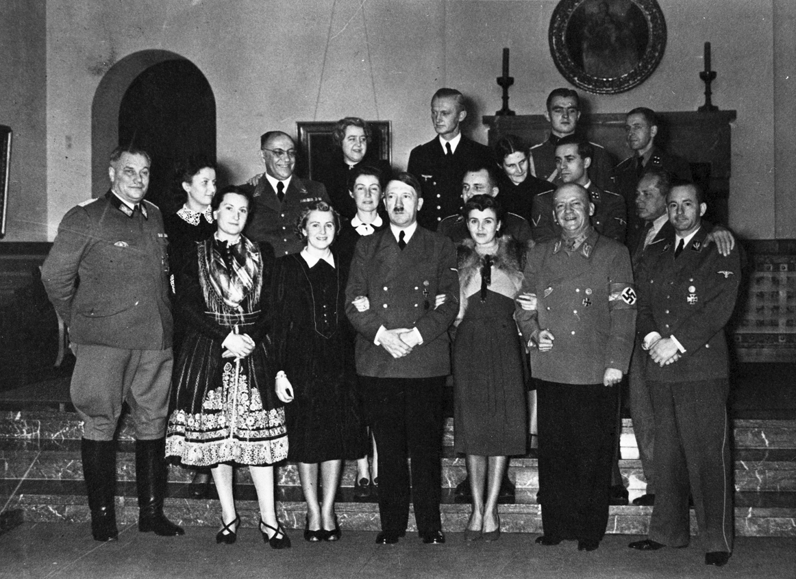 Adolf Hitler and his entourage pose on New Year's Eve at the Berghof, from Eva Braun's albums