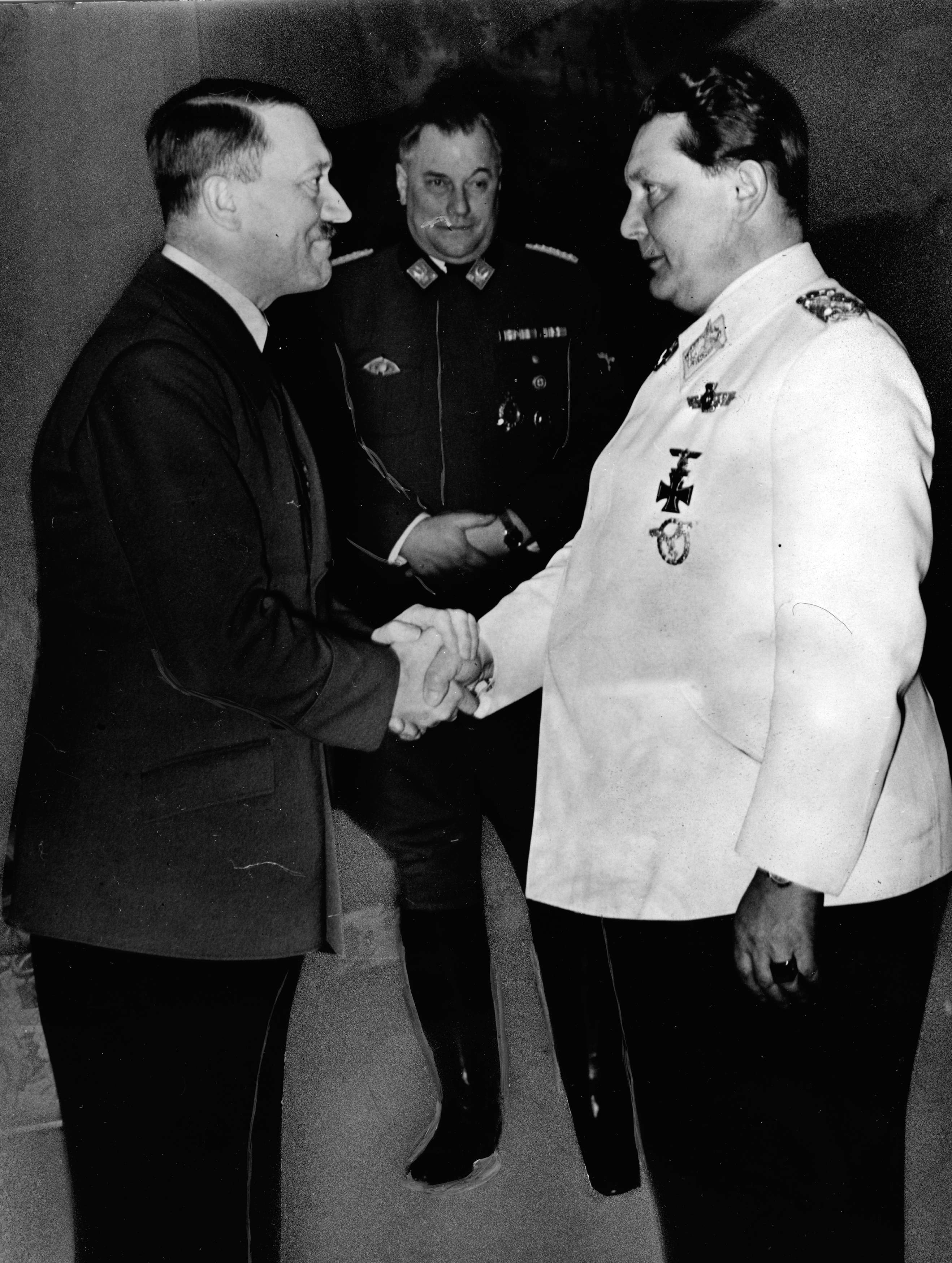 Adolf Hitler congratulates Field Marshal Hermann Goering on his 47th birthday