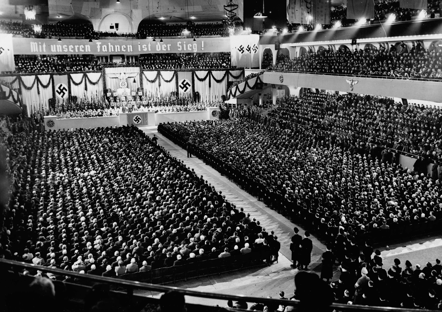 Adolf Hitler makes a speech at Berlin's Sportpalast on the occasion of the Machtergreifung (anniversary of the NSDAP takeover)