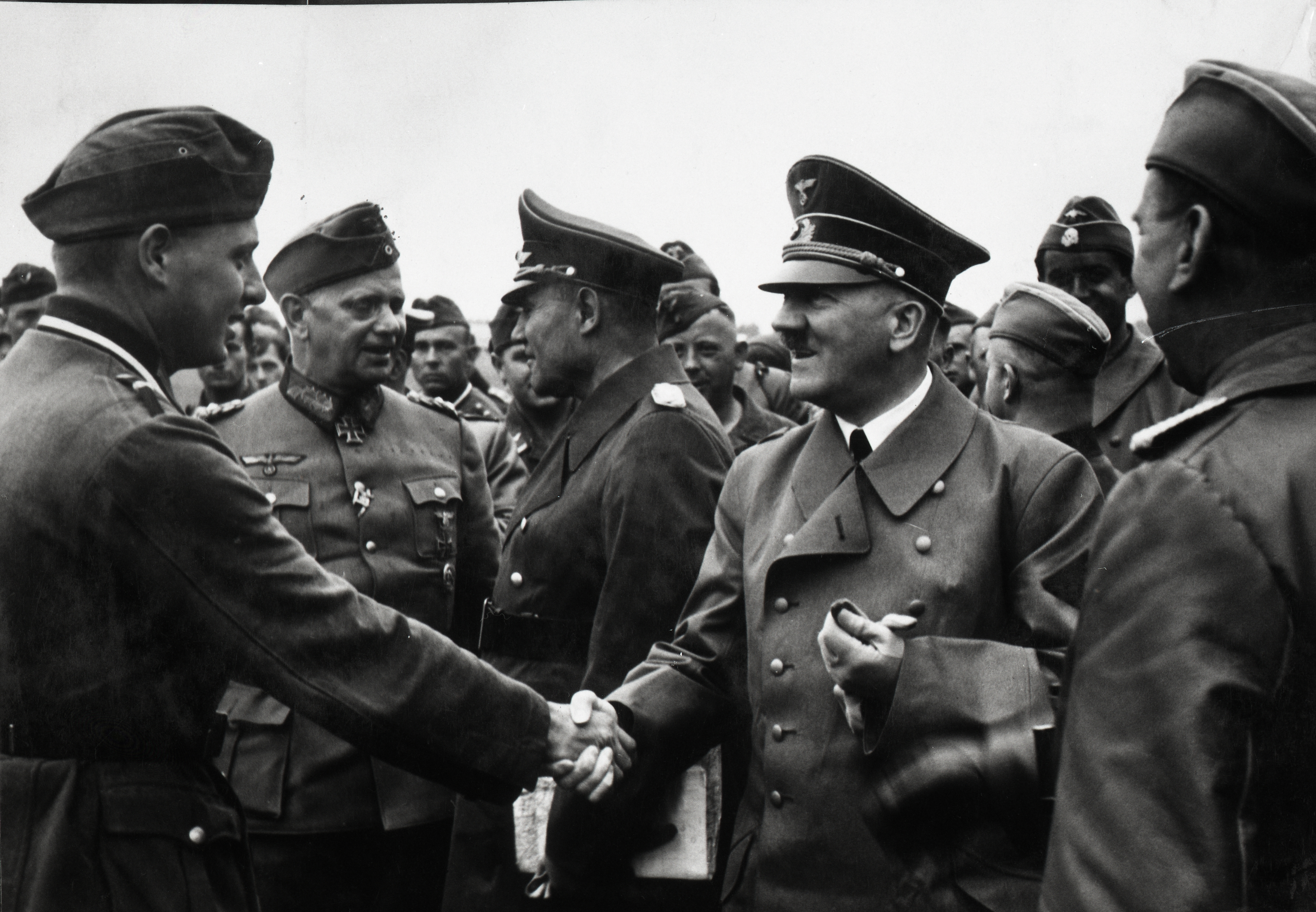 Adolf Hitler meeting a Special Officer of a propaganda company, from Eva Braun's albums