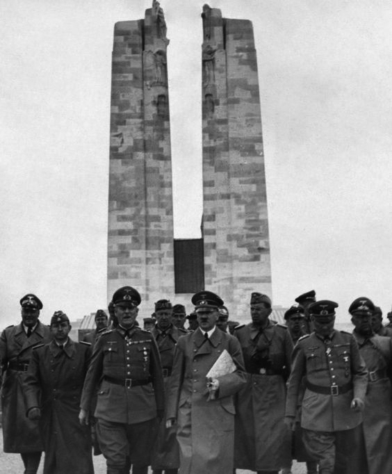 Hitler visits the First World War memorial to the Canadian soldiers killed at Vimy Ridge, France