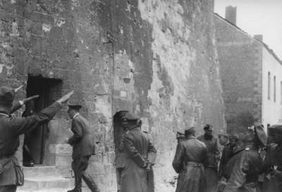 Adolf Hitler enters Ostrevant's tower in Bouchain, France