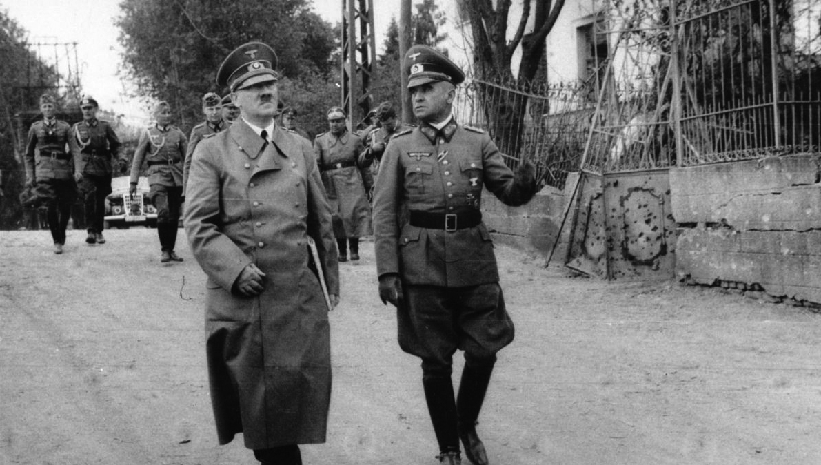 Adolf Hitler and general Walter Heitz in the city of Bouchain, France, during Hitler's visit of old WWI sites