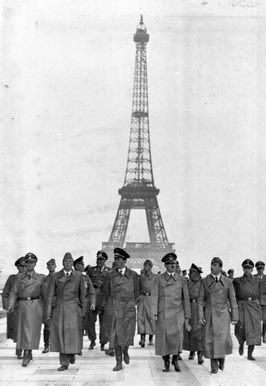 Adolf Hitler and his staff on the Trocadero, during his only visit to Paris, in occupied France