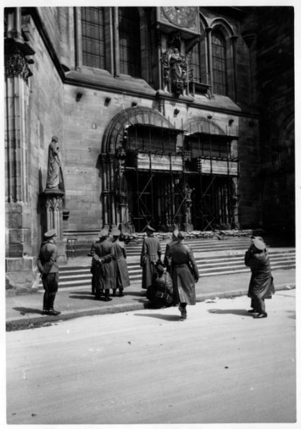 Adolf Hitler in front of the Strasbourg cathedral, France