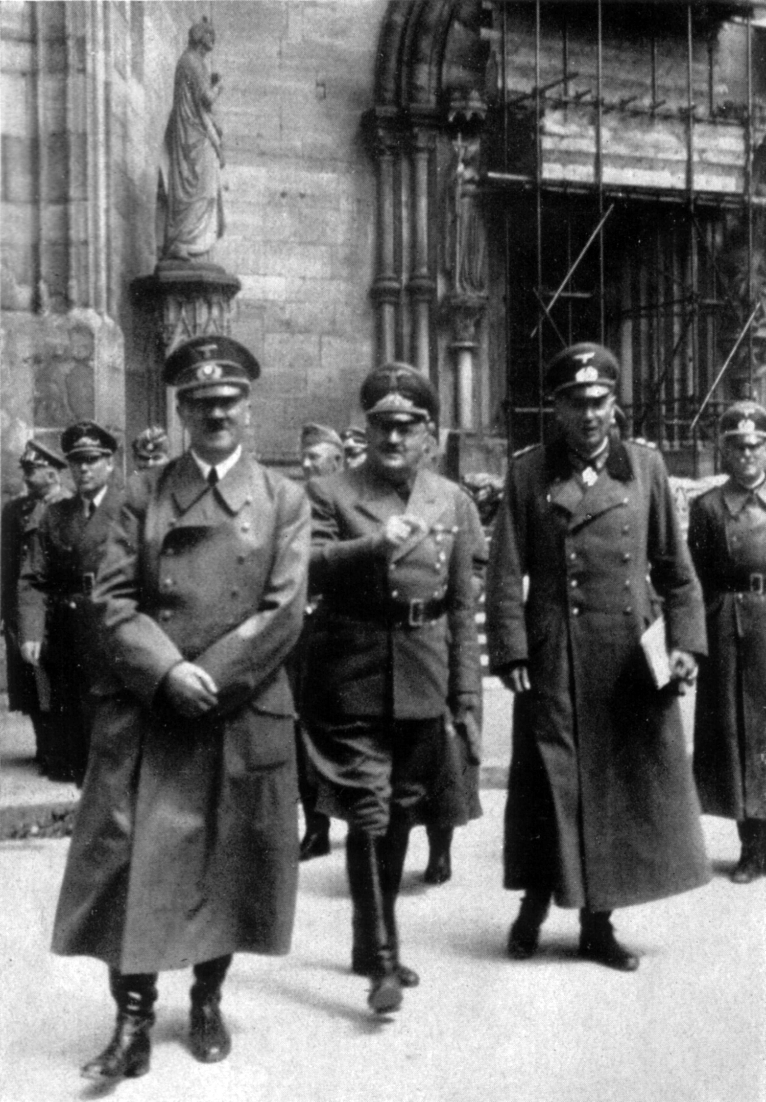 Adolf Hitler visits the Strasbourg cathedral in France