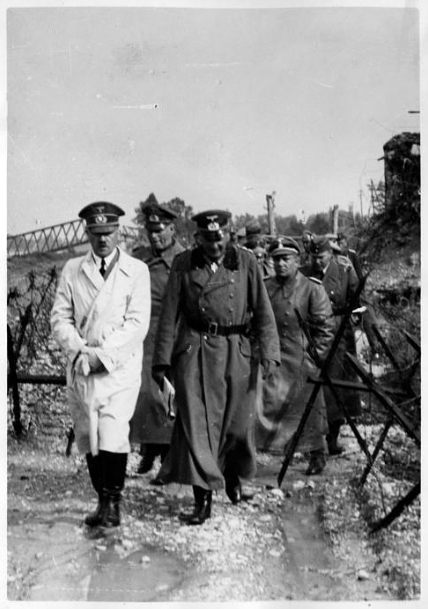 Adolf Hitler inspecting the Rhine bridge near Strasbourg