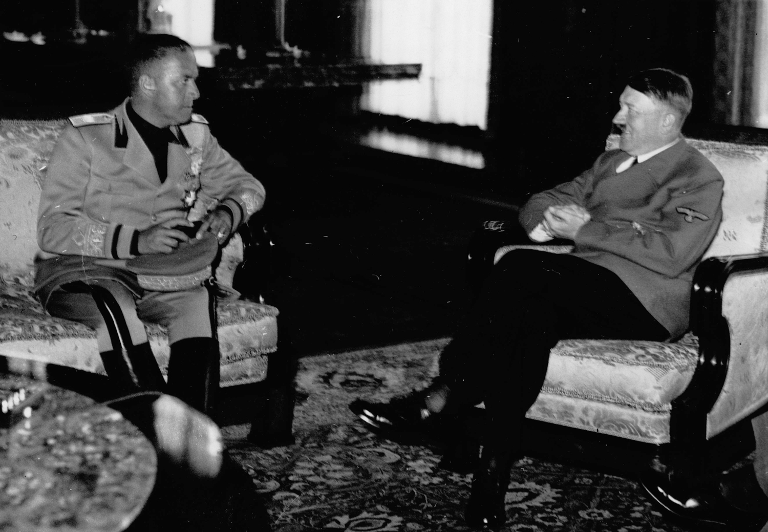 Adolf Hitler in conversation with the Italian Foreign Minister Count Galeazzo Ciano in the Reich Chancellery