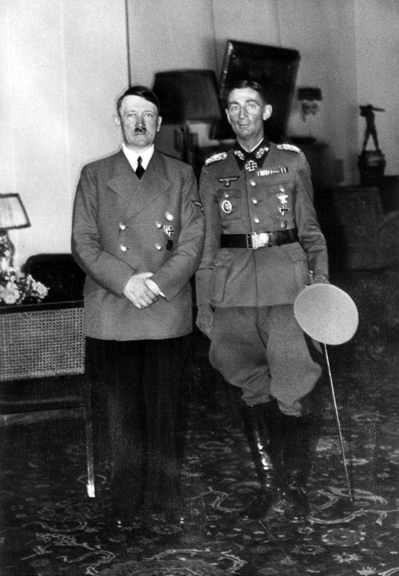 Eduard Dietl with Adolf Hitler after being awarded with the Ritterkreuz in Berlin