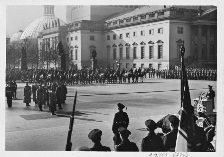 Adolf Hitler arrives at the state funeral for Admiral Von Trotha in Unter den Linden, Berlin