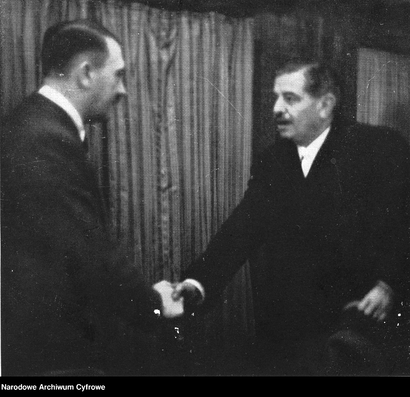 Adolf Hitler meets French Head of the Government Pierre Laval in Hitler's train, in Montoire, France