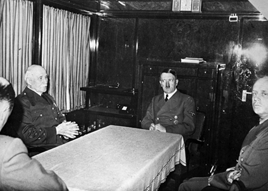 Adolf Hitler meets with French leader Philippe Pétain in Hitler's special train in Montoire-sur-le-Loir, france
