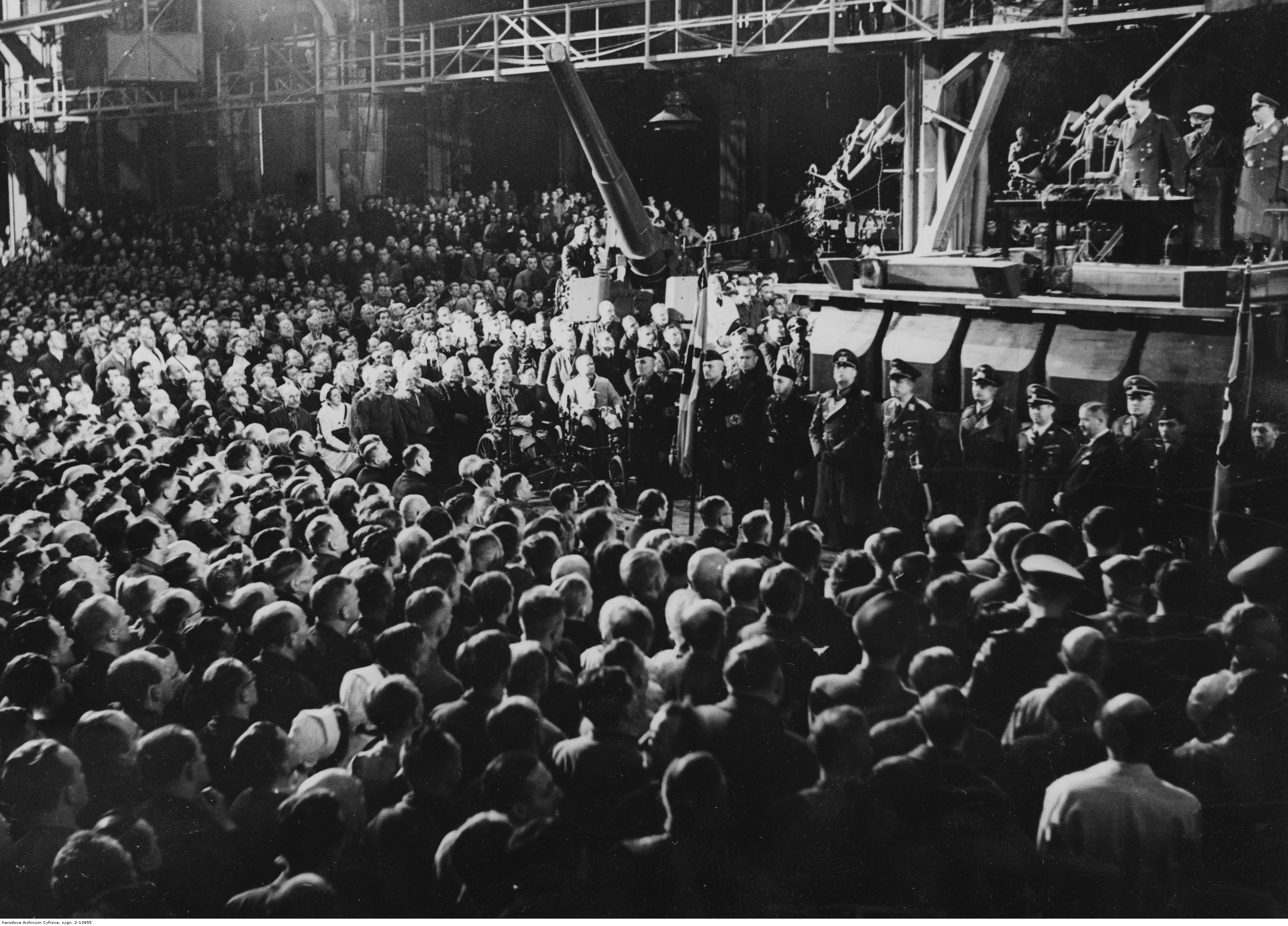 Adolf Hitler gives a speech in Krupp factory